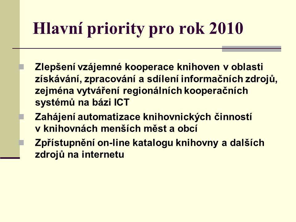 Hlavní priority pro rok 2010 Zlepšení vzájemné kooperace knihoven v oblasti získávání, zpracování a sdílení informačních zdrojů, zejména vytváření regionálních kooperačních systémů na bázi ICT Zahájení automatizace knihovnických činností v knihovnách menších měst a obcí Zpřístupnění on-line katalogu knihovny a dalších zdrojů na internetu
