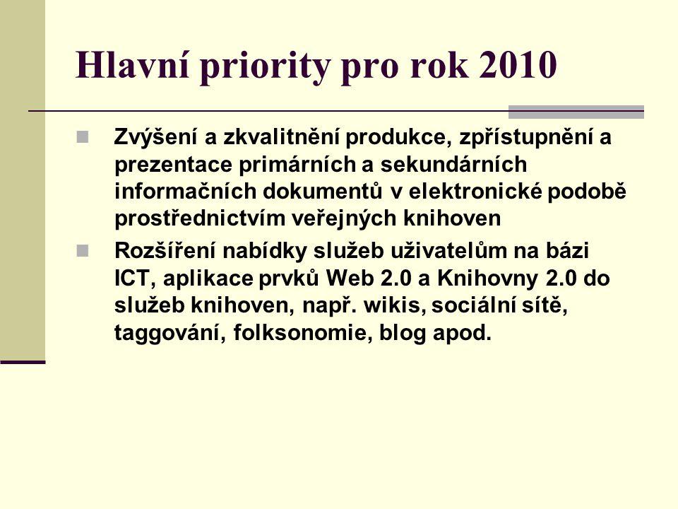 Hlavní priority pro rok 2010 Zvýšení a zkvalitnění produkce, zpřístupnění a prezentace primárních a sekundárních informačních dokumentů v elektronické podobě prostřednictvím veřejných knihoven Rozšíření nabídky služeb uživatelům na bázi ICT, aplikace prvků Web 2.0 a Knihovny 2.0 do služeb knihoven, např.
