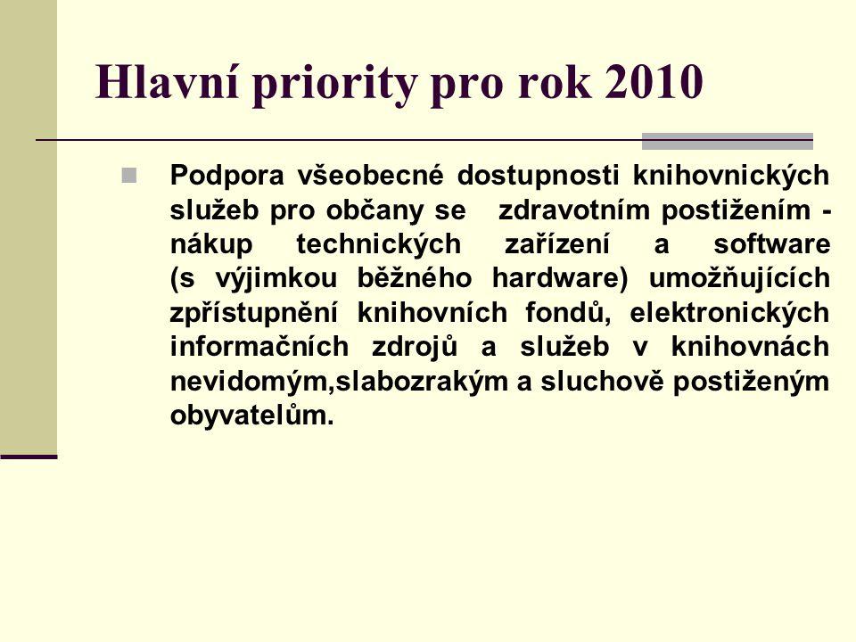 Hlavní priority pro rok 2010 Podpora všeobecné dostupnosti knihovnických služeb pro občany se zdravotním postižením - nákup technických zařízení a software (s výjimkou běžného hardware) umožňujících zpřístupnění knihovních fondů, elektronických informačních zdrojů a služeb v knihovnách nevidomým,slabozrakým a sluchově postiženým obyvatelům.
