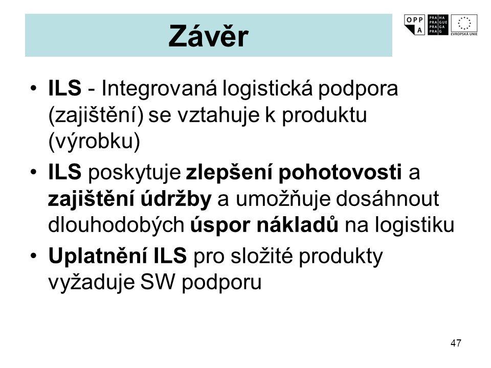 47 Závěr ILS - Integrovaná logistická podpora (zajištění) se vztahuje k produktu (výrobku) ILS poskytuje zlepšení pohotovosti a zajištění údržby a umo