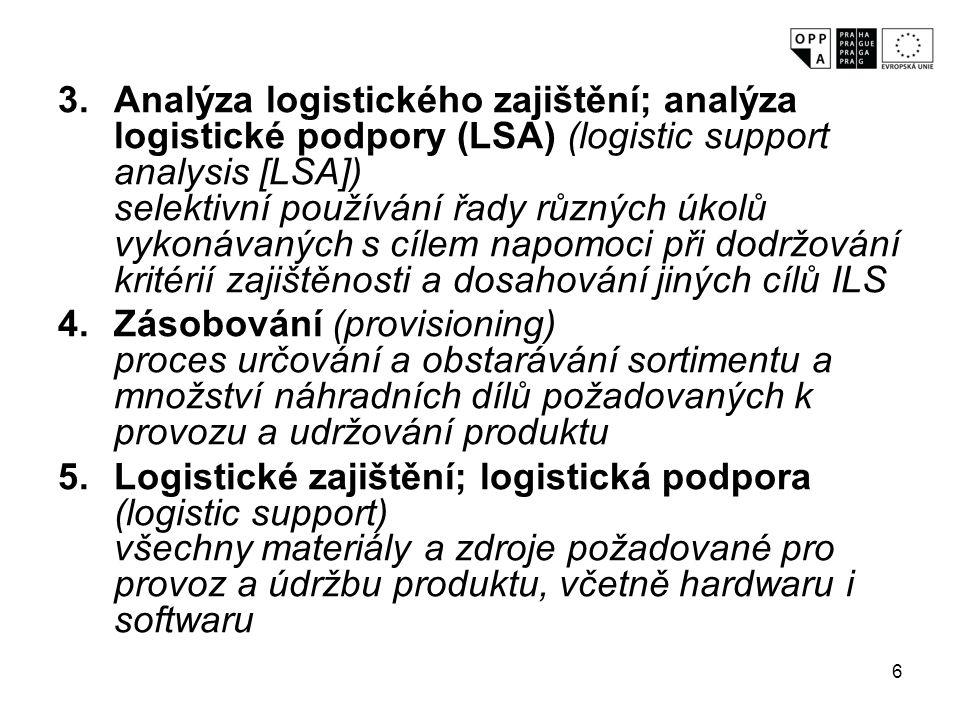 7 6.Zajištěnost (supportability) stupeň, do něhož charakteristiky návrhu produktu a plánované zdroje logistického zajištění splňují požadavky provozního využití produktu 7.Optimalizace nákladů a přínosů (trade-off) stanovení optimální vyváženosti mezi charakteristikami produktu (náklady, ukazateli výkonnosti a zajištěností) 8.Koncepce logistického zajištění; koncepce logistické podpory (support concept) doporučená politika logistického zajištění a postup pro konkrétní produkt, které jsou specifické pro určitého uživatele nebo pro určité použití