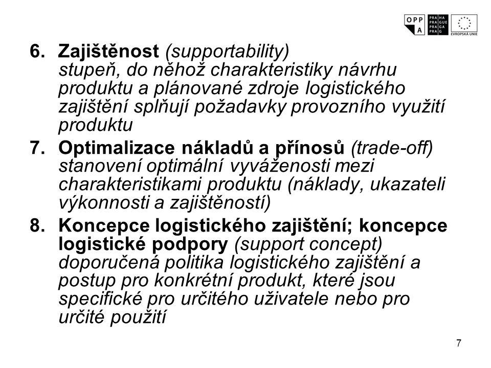 7 6.Zajištěnost (supportability) stupeň, do něhož charakteristiky návrhu produktu a plánované zdroje logistického zajištění splňují požadavky provozní