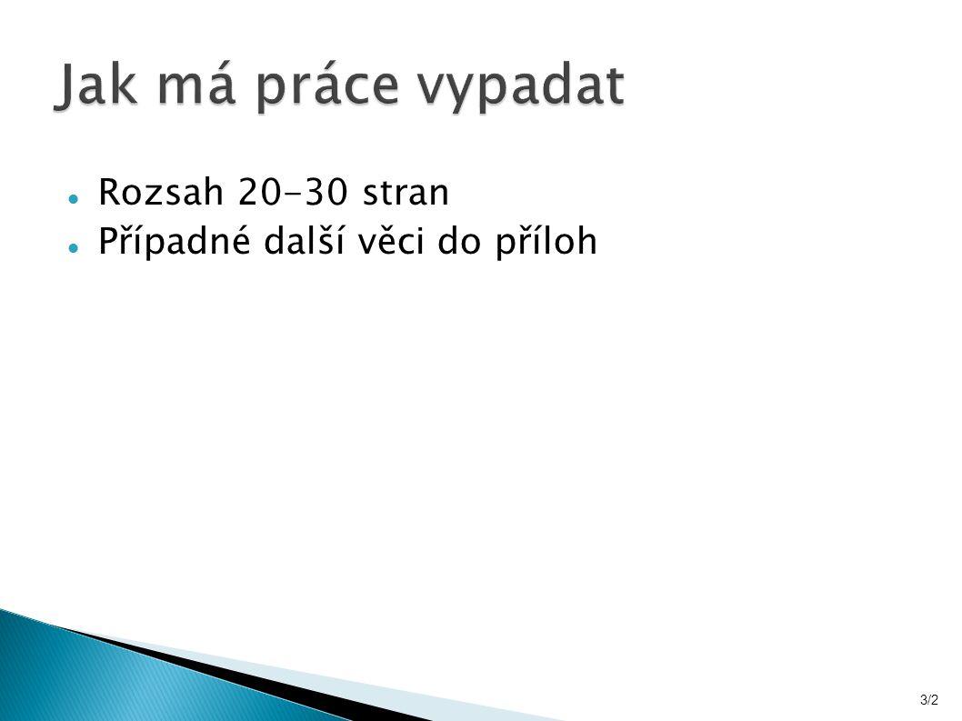 Rozsah 20-30 stran Případné další věci do příloh 3/2