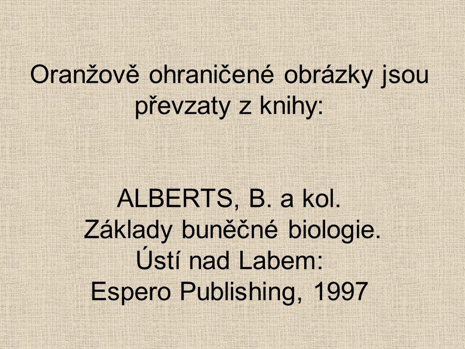 Oranžově ohraničené obrázky jsou převzaty z knihy: ALBERTS, B. a kol. Základy buněčné biologie. Ústí nad Labem: Espero Publishing, 1997