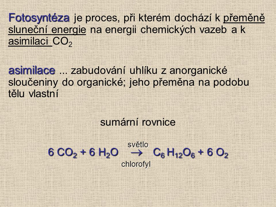 Fotosyntéza Fotosyntéza je proces, při kterém dochází k přeměně sluneční energie na energii chemických vazeb a k asimilaci CO 2 asimilace asimilace...