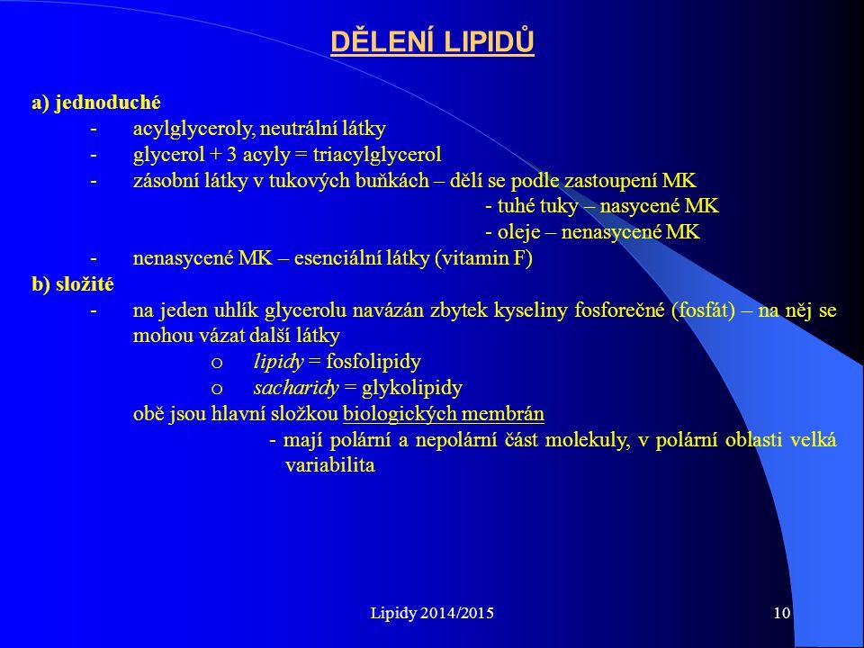 Lipidy 2014/201510 DĚLENÍ LIPIDŮ a) jednoduché -acylglyceroly, neutrální látky -glycerol + 3 acyly = triacylglycerol -zásobní látky v tukových buňkách