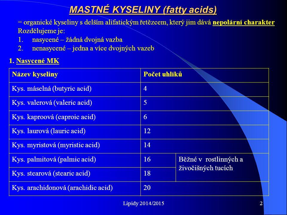 Lipidy 2014/20152 MASTNÉ KYSELINY (fatty acids) = organické kyseliny s delším alifatickým řetězcem, který jim dává nepolární charakter Rozdělujeme je: