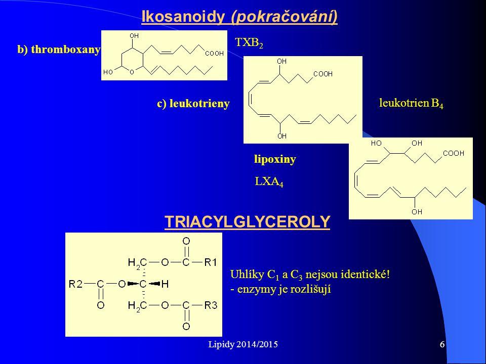 Lipidy 2014/20156 Ikosanoidy (pokračování) b) thromboxany TXB 2 c) leukotrieny lipoxiny leukotrien B 4 LXA 4 TRIACYLGLYCEROLY Uhlíky C 1 a C 3 nejsou