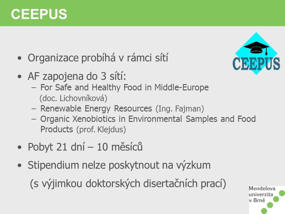 CEEPUS Organizace probíhá v rámci sítí AF zapojena do 3 sítí: –For Safe and Healthy Food in Middle-Europe (doc. Lichovníková) –Renewable Energy Resour