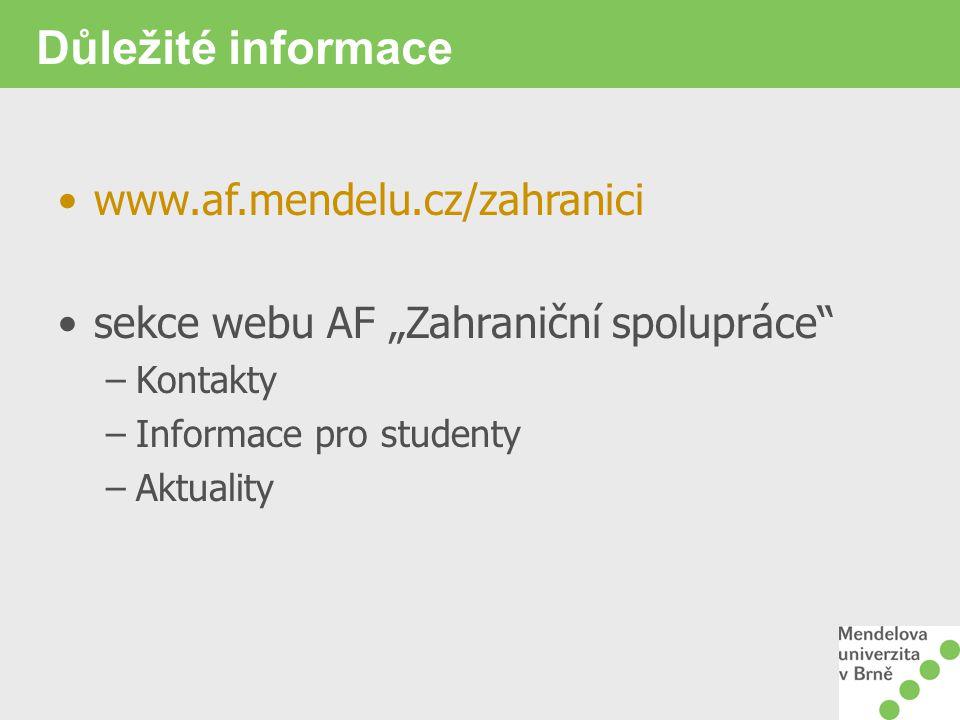 """Důležité informace www.af.mendelu.cz/zahranici sekce webu AF """"Zahraniční spolupráce"""" –Kontakty –Informace pro studenty –Aktuality"""