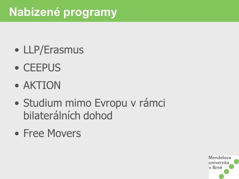 Nabízené programy LLP/Erasmus CEEPUS AKTION Studium mimo Evropu v rámci bilaterálních dohod Free Movers
