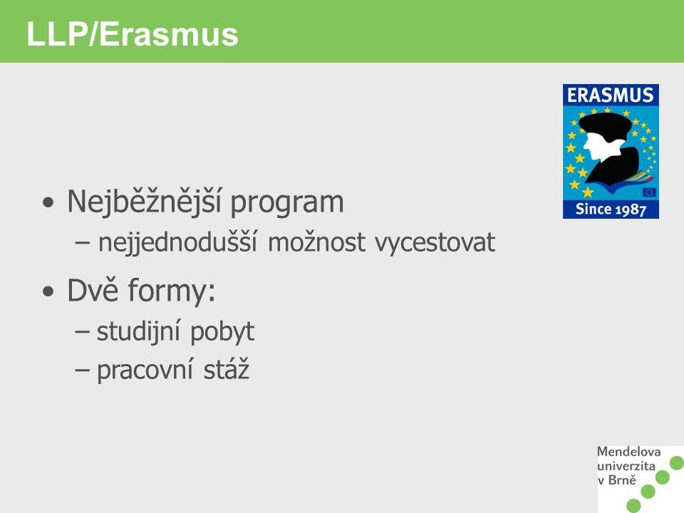 LLP/Erasmus – studijní pobyt Pobyt 3- (12) měsíců Studium na MENDELU nesmí být přerušeno Stejné podmínky na hostitelské univerzitě jako domácí studenti Možnost pracovat na disertaci / studovat předměty
