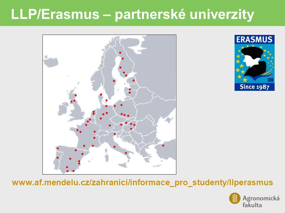 LLP/Erasmus – pracovní stáž Pobyt 3-12 měsíců Stáž v podniku, školícím, výzkumném středisku nebo v jiné organizaci Nelze v institucích EU a na ambasádách Plný pracovní úvazek podle předem dohodnutého pracovního plánu Není seznam pracovišť – studenti si vyhledávají sami, případně na doporučení školitele
