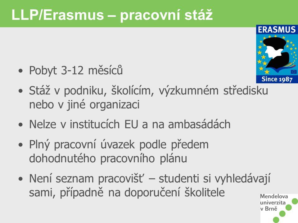 LLP/Erasmus – pracovní stáž Pobyt 3-12 měsíců Stáž v podniku, školícím, výzkumném středisku nebo v jiné organizaci Nelze v institucích EU a na ambasád