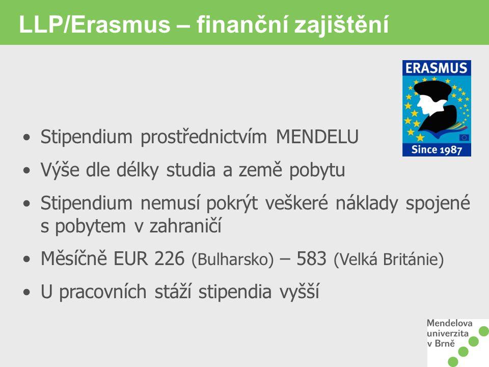 LLP/Erasmus – finanční zajištění Stipendium prostřednictvím MENDELU Výše dle délky studia a země pobytu Stipendium nemusí pokrýt veškeré náklady spojené s pobytem v zahraničí Měsíčně EUR 226 (Bulharsko) – 583 (Velká Británie) U pracovních stáží stipendia vyšší