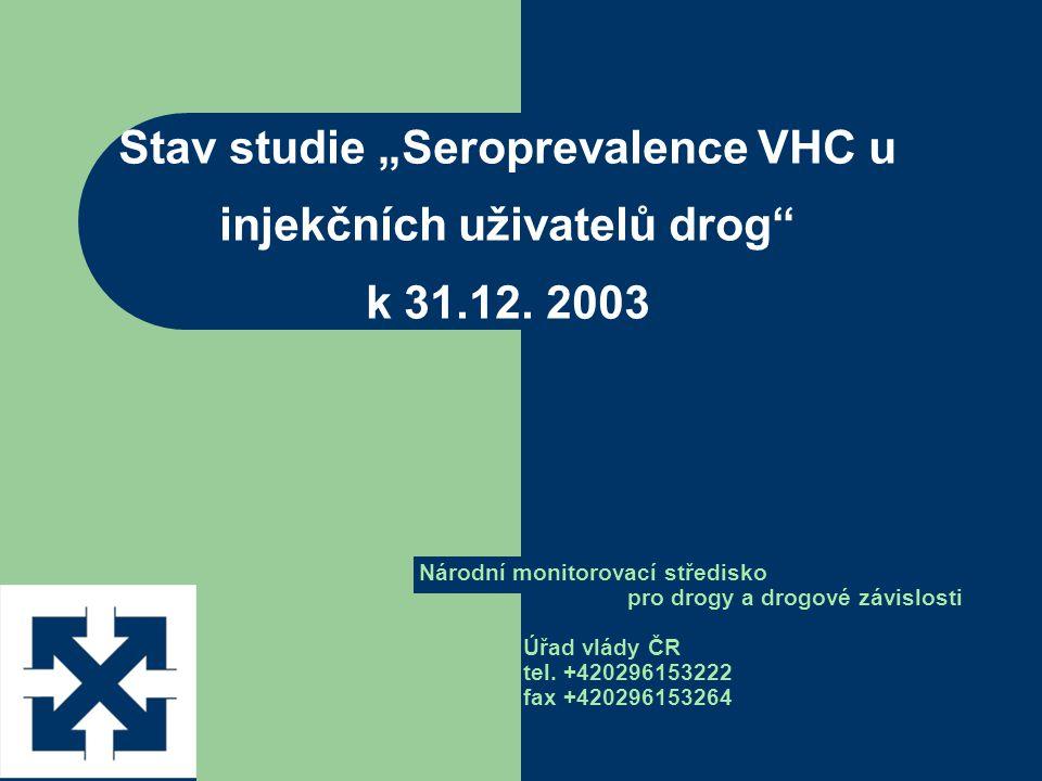 """Stav studie """"Seroprevalence VHC u injekčních uživatelů drog k 31.12."""