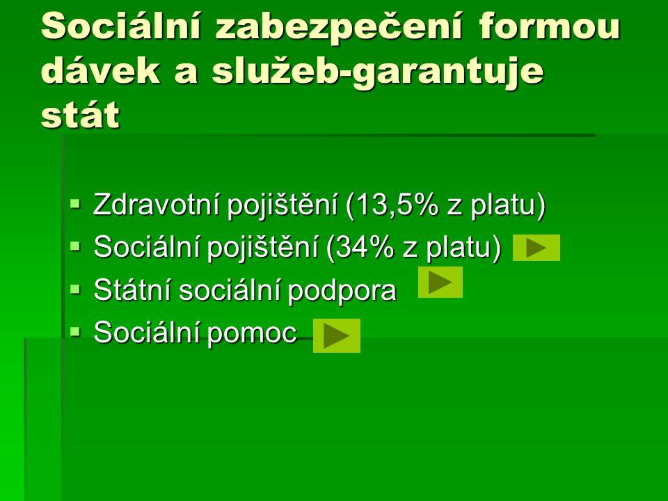 Sociální zabezpečení formou dávek a služeb-garantuje stát  Zdravotní pojištění (13,5% z platu)  Sociální pojištění (34% z platu)  Státní sociální podpora  Sociální pomoc