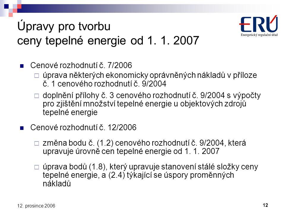 12. prosince 2006 Úpravy pro tvorbu ceny tepelné energie od 1.