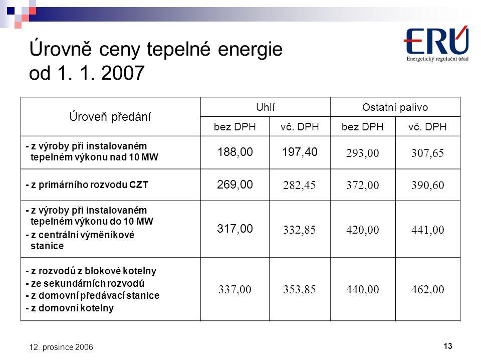 13 12. prosince 2006 Úrovně ceny tepelné energie od 1.