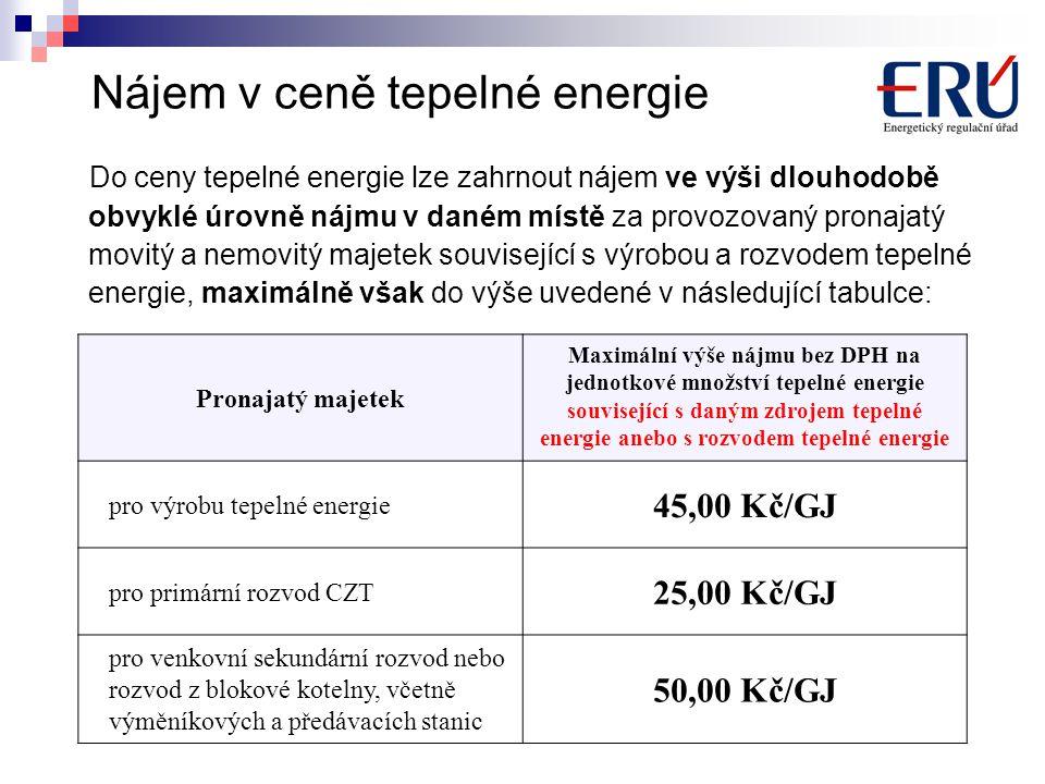 Nájem v ceně tepelné energie Do ceny tepelné energie lze zahrnout nájem ve výši dlouhodobě obvyklé úrovně nájmu v daném místě za provozovaný pronajatý movitý a nemovitý majetek související s výrobou a rozvodem tepelné energie, maximálně však do výše uvedené v následující tabulce: Pronajatý majetek Maximální výše nájmu bez DPH na jednotkové množství tepelné energie související s daným zdrojem tepelné energie anebo s rozvodem tepelné energie pro výrobu tepelné energie 45,00 Kč/GJ pro primární rozvod CZT 25,00 Kč/GJ pro venkovní sekundární rozvod nebo rozvod z blokové kotelny, včetně výměníkových a předávacích stanic 50,00 Kč/GJ