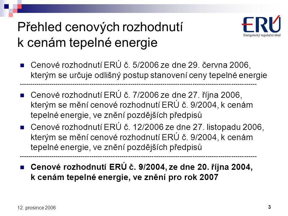 3 12. prosince 2006 Přehled cenových rozhodnutí k cenám tepelné energie Cenové rozhodnutí ERÚ č.
