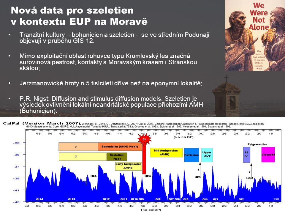 Nová data pro szeletien v kontextu EUP na Moravě Tranzitní kultury – bohunicien a szeletien – se ve středním Podunají objevují v průběhu GIS-12. Mimo