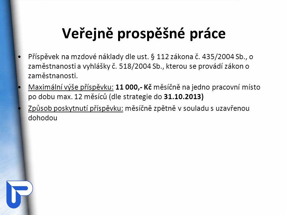 Veřejně prospěšné práce Příspěvek na mzdové náklady dle ust. § 112 zákona č. 435/2004 Sb., o zaměstnanosti a vyhlášky č. 518/2004 Sb., kterou se prová
