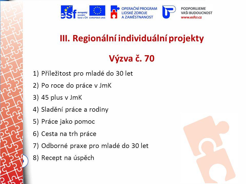III. Regionální individuální projekty Výzva č. 70 1)Příležitost pro mladé do 30 let 2)Po roce do práce v JmK 3)45 plus v JmK 4)Sladění práce a rodiny