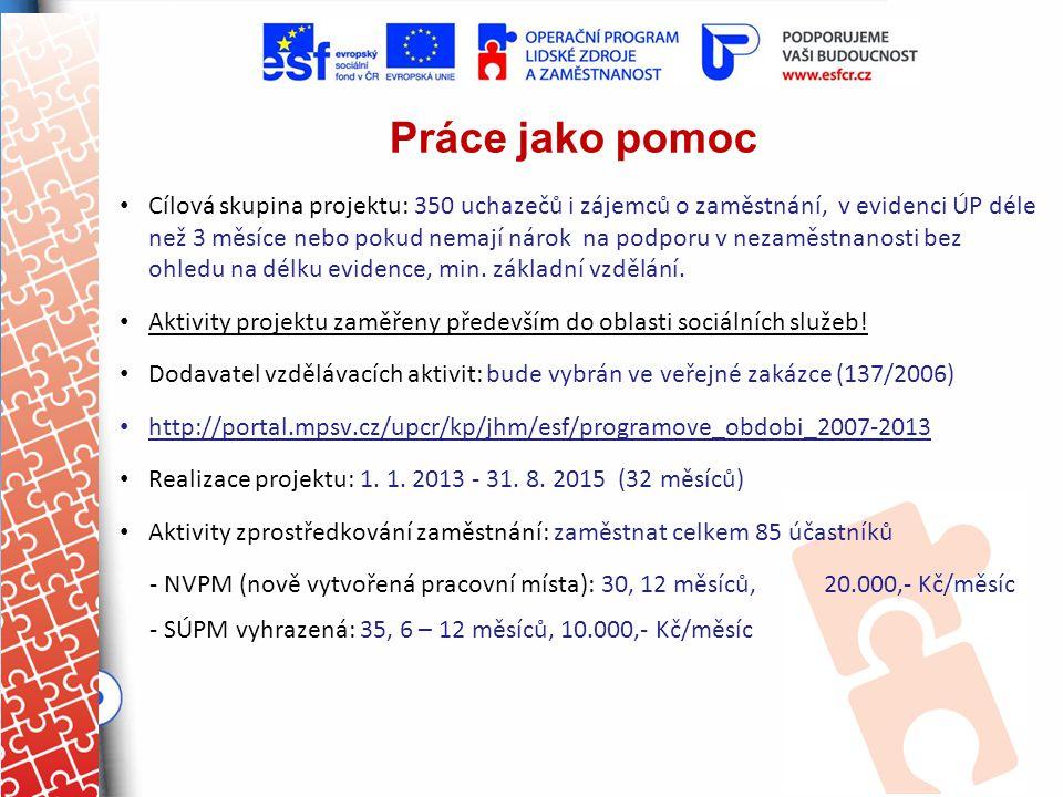 Práce jako pomoc Cílová skupina projektu: 350 uchazečů i zájemců o zaměstnání, v evidenci ÚP déle než 3 měsíce nebo pokud nemají nárok na podporu v ne