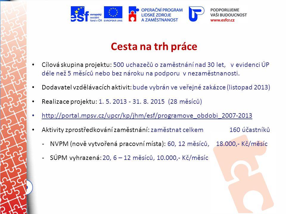 Cesta na trh práce Cílová skupina projektu: 500 uchazečů o zaměstnání nad 30 let, v evidenci ÚP déle než 5 měsíců nebo bez nároku na podporu v nezaměs