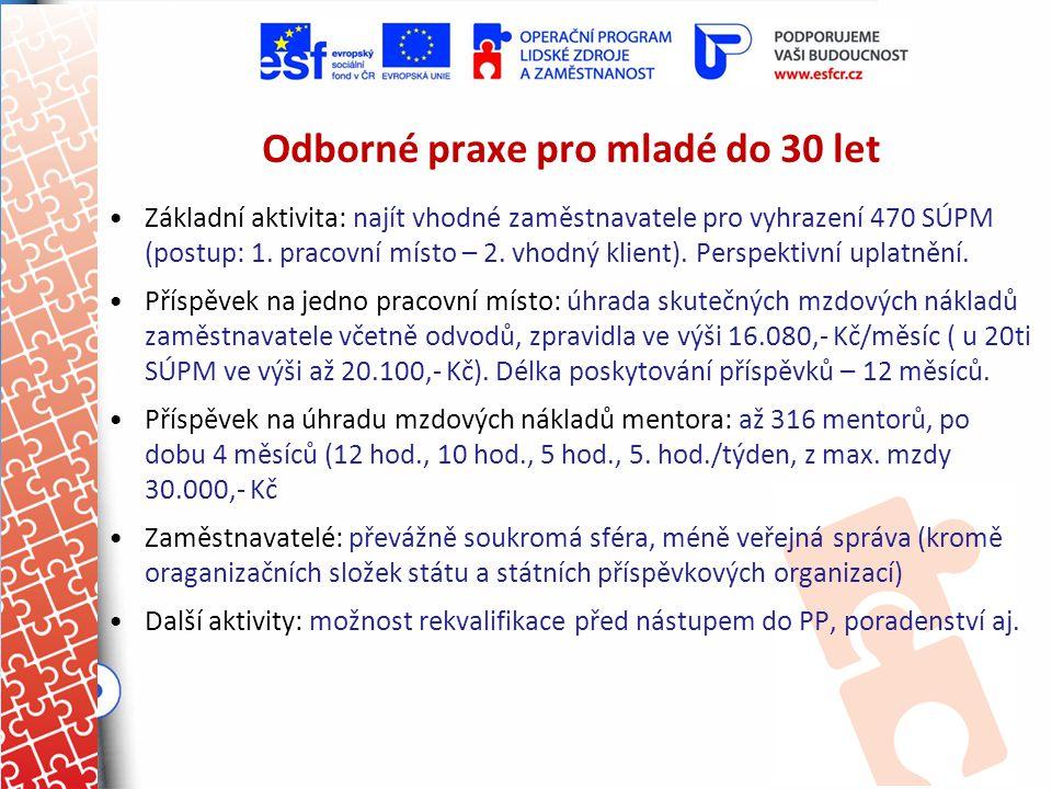 Odborné praxe pro mladé do 30 let Základní aktivita: najít vhodné zaměstnavatele pro vyhrazení 470 SÚPM (postup: 1. pracovní místo – 2. vhodný klient)