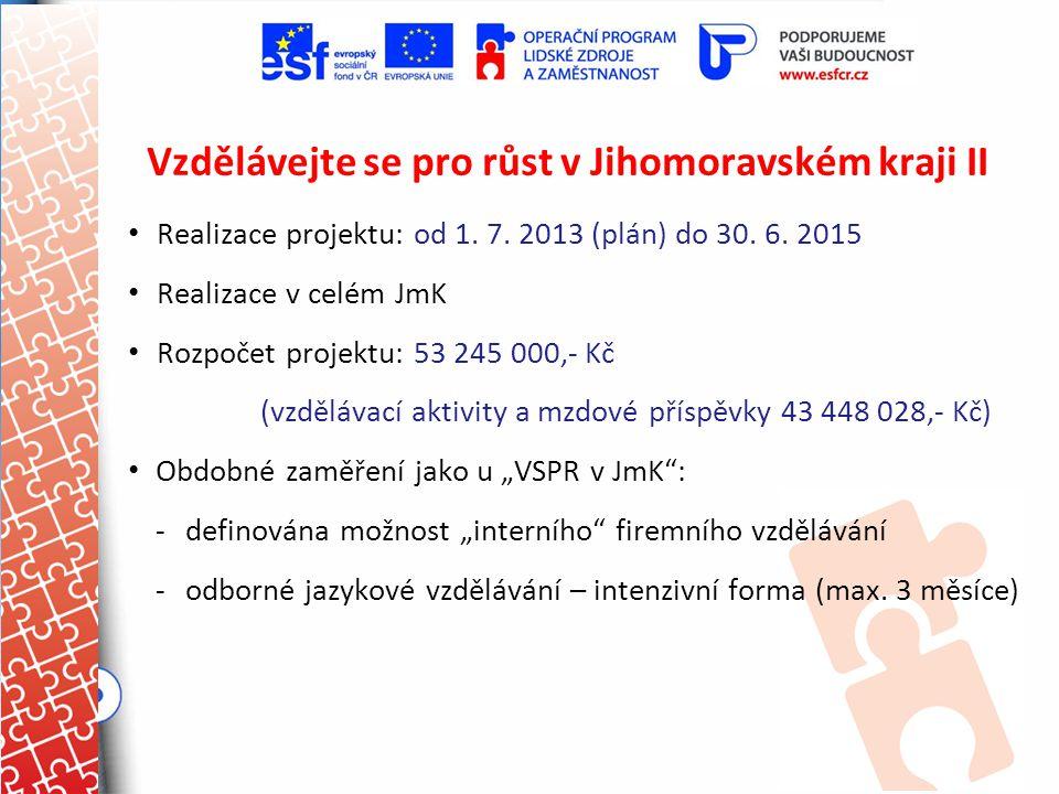 Vzdělávejte se pro růst v Jihomoravském kraji II Realizace projektu: od 1. 7. 2013 (plán) do 30. 6. 2015 Realizace v celém JmK Rozpočet projektu: 53 2