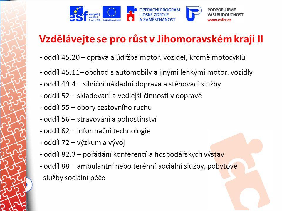 Vzdělávejte se pro růst v Jihomoravském kraji II - oddíl 45.20 – oprava a údržba motor. vozidel, kromě motocyklů - oddíl 45.11– obchod s automobily a