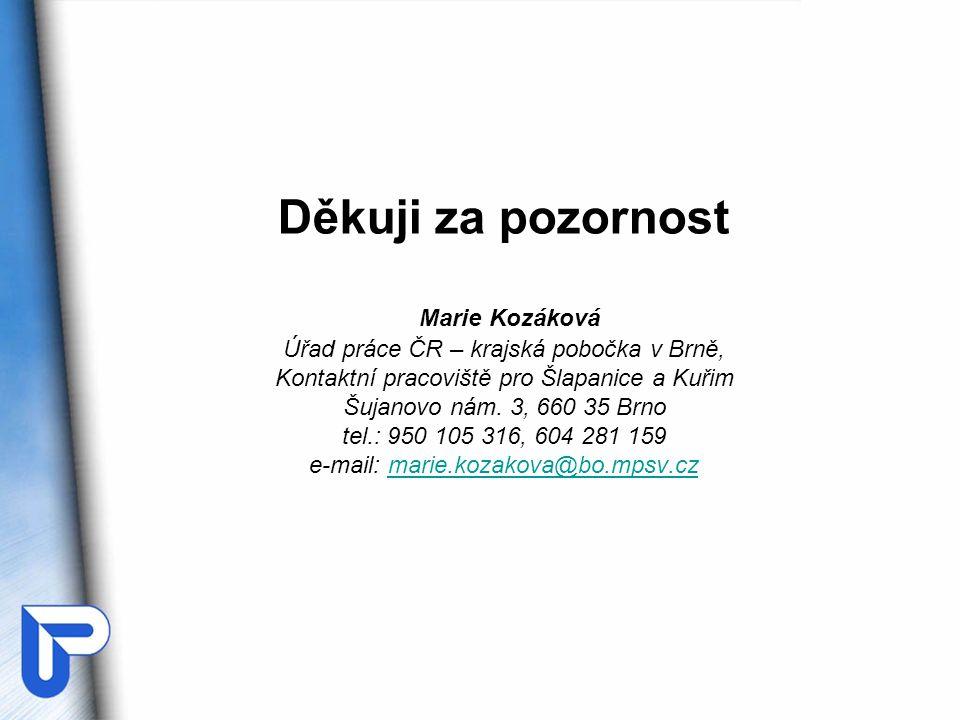 Děkuji za pozornost Marie Kozáková Úřad práce ČR – krajská pobočka v Brně, Kontaktní pracoviště pro Šlapanice a Kuřim Šujanovo nám. 3, 660 35 Brno tel