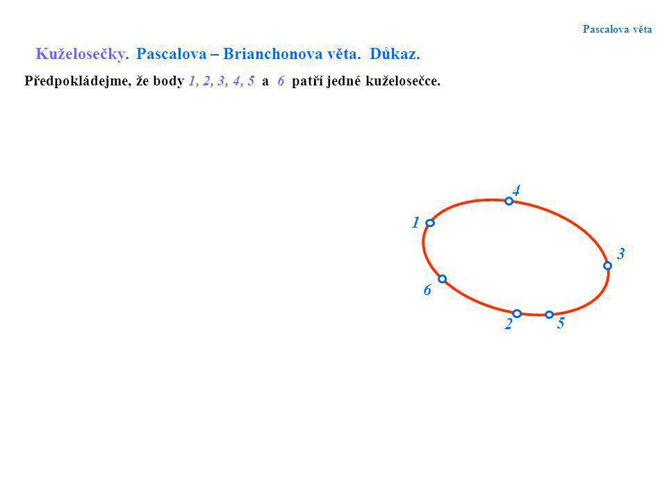 Pascalova věta Kuželosečky. Pascalova – Brianchonova věta. Důkaz. 1 6 2 4 3 5 Předpokládejme, že body 1, 2, 3, 4, 5 a 6 patří jedné kuželosečce.