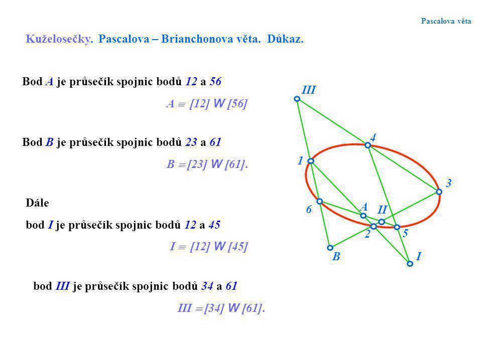 Pascalova věta Kuželosečky. Pascalova – Brianchonova věta. Důkaz. I II III 1 6 2 4 3 5 A B Dále bod I je průsečík spojnic bodů 12 a 45 I  [12] W [45]