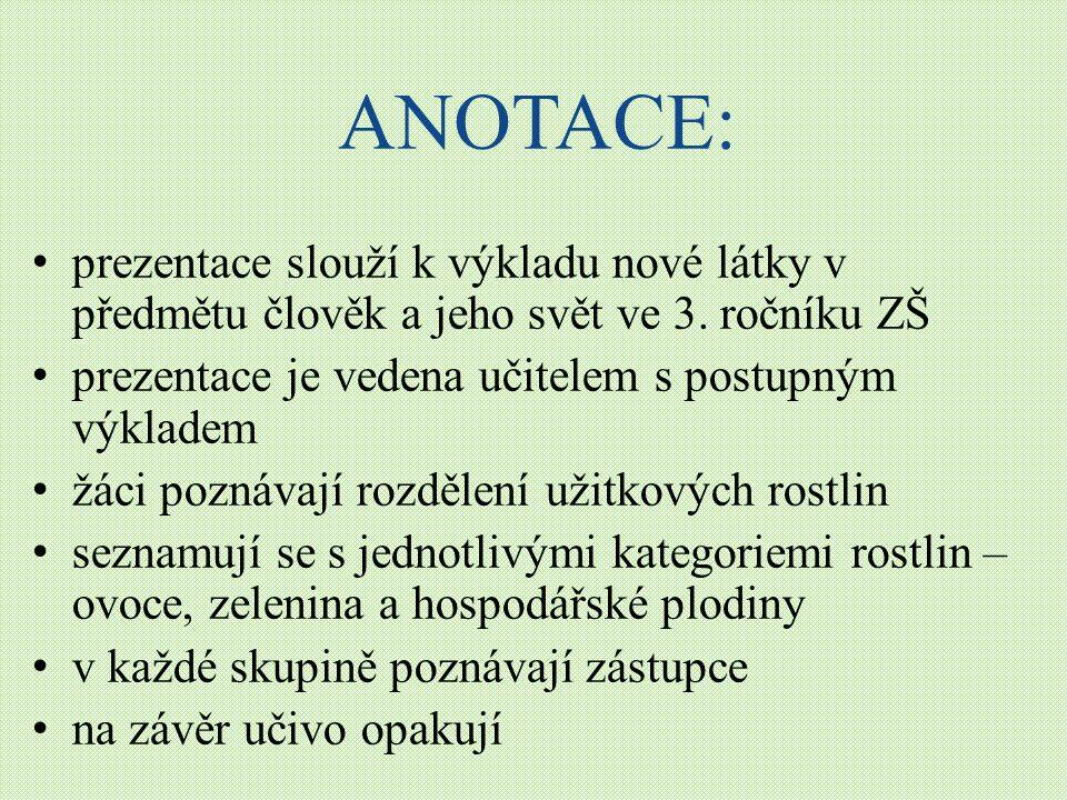 ANOTACE: prezentace slouží k výkladu nové látky v předmětu člověk a jeho svět ve 3.