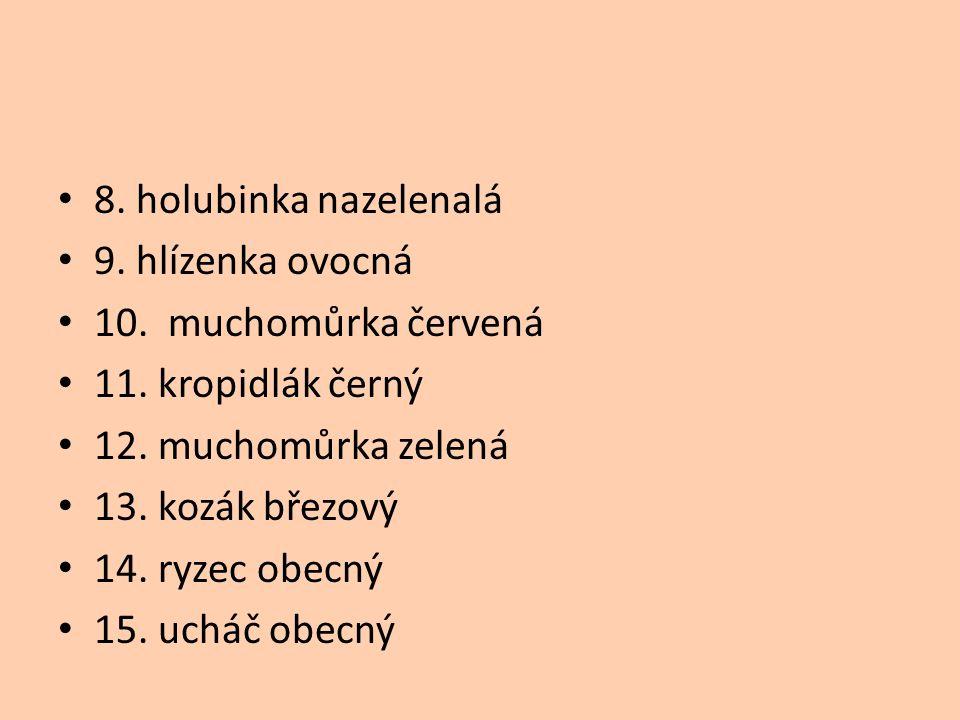 8. holubinka nazelenalá 9. hlízenka ovocná 10. muchomůrka červená 11. kropidlák černý 12. muchomůrka zelená 13. kozák březový 14. ryzec obecný 15. uch