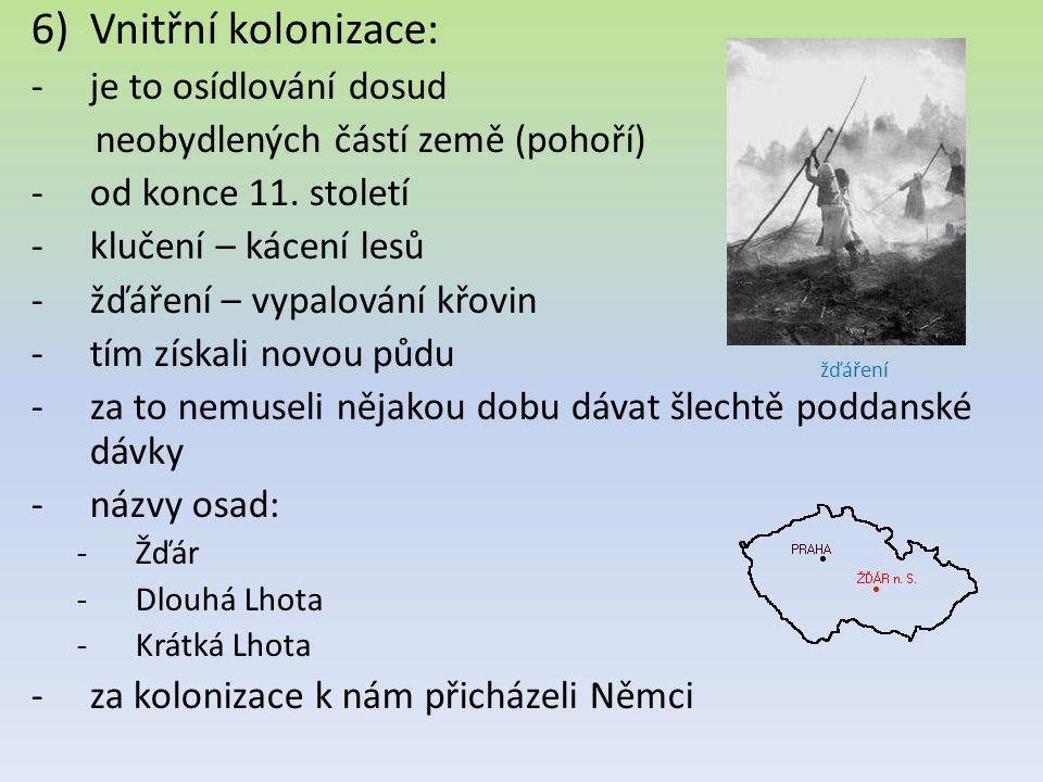 6)Vnitřní kolonizace: -je to osídlování dosud neobydlených částí země (pohoří) -od konce 11.