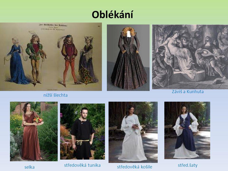 Oblékání nižší šlechta Záviš a Kunhuta středověká tunika selka středověká košile střed.šaty
