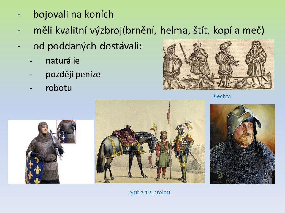 -bojovali na koních -měli kvalitní výzbroj(brnění, helma, štít, kopí a meč) -od poddaných dostávali: -naturálie -později peníze -robotu rytíř z 12.