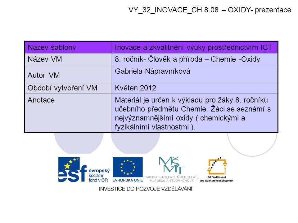 VY_32_INOVACE_CH.8.08 – OXIDY- prezentace Název šablonyInovace a zkvalitnění výuky prostřednictvím ICT Název VM8. ročník- Člověk a příroda – Chemie -O