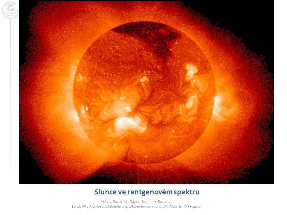 Slunce ve rentgenovém spektru Autor: Neznámý Název: Sun_in_X-Ray.png Zdroj: http://upload.wikimedia.org/wikipedia/commons/d/df/Sun_in_X-Ray.png