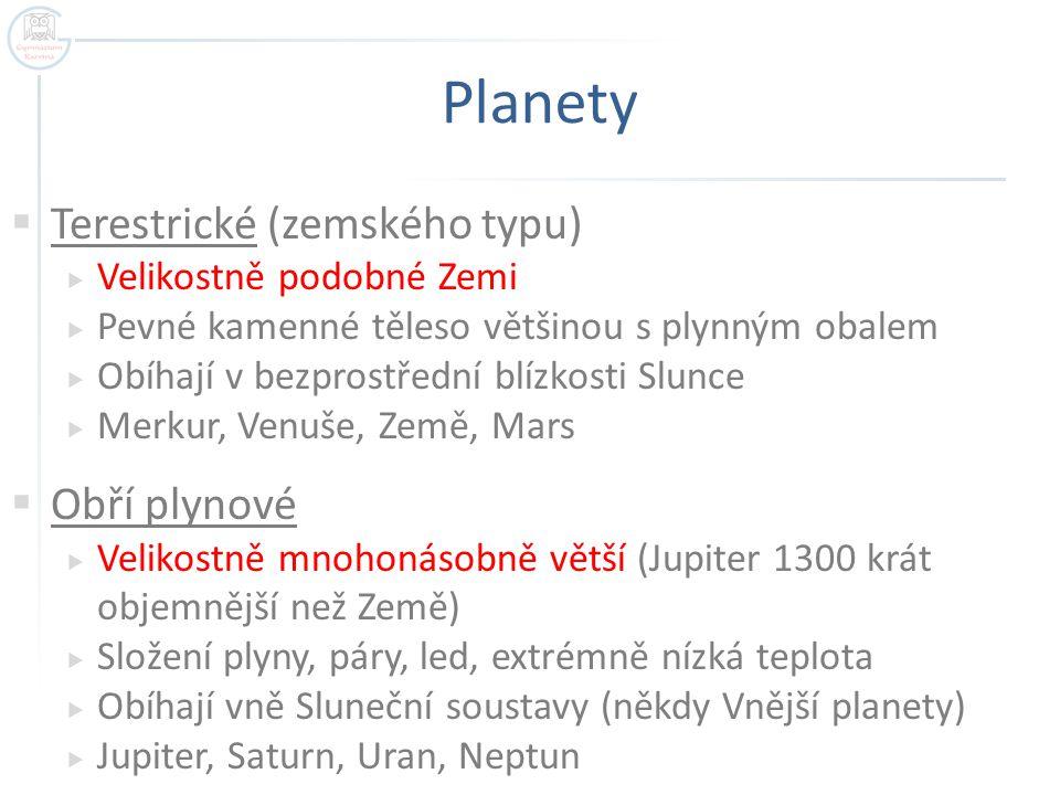 Planety  Terestrické (zemského typu)  Velikostně podobné Zemi  Pevné kamenné těleso většinou s plynným obalem  Obíhají v bezprostřední blízkosti Slunce  Merkur, Venuše, Země, Mars  Obří plynové  Velikostně mnohonásobně větší (Jupiter 1300 krát objemnější než Země)  Složení plyny, páry, led, extrémně nízká teplota  Obíhají vně Sluneční soustavy (někdy Vnější planety)  Jupiter, Saturn, Uran, Neptun