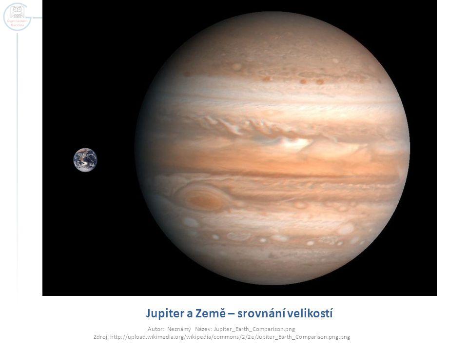 Jupiter a Země – srovnání velikostí Autor: Neznámý Název: Jupiter_Earth_Comparison.png Zdroj: http://upload.wikimedia.org/wikipedia/commons/2/2e/Jupiter_Earth_Comparison.png.png