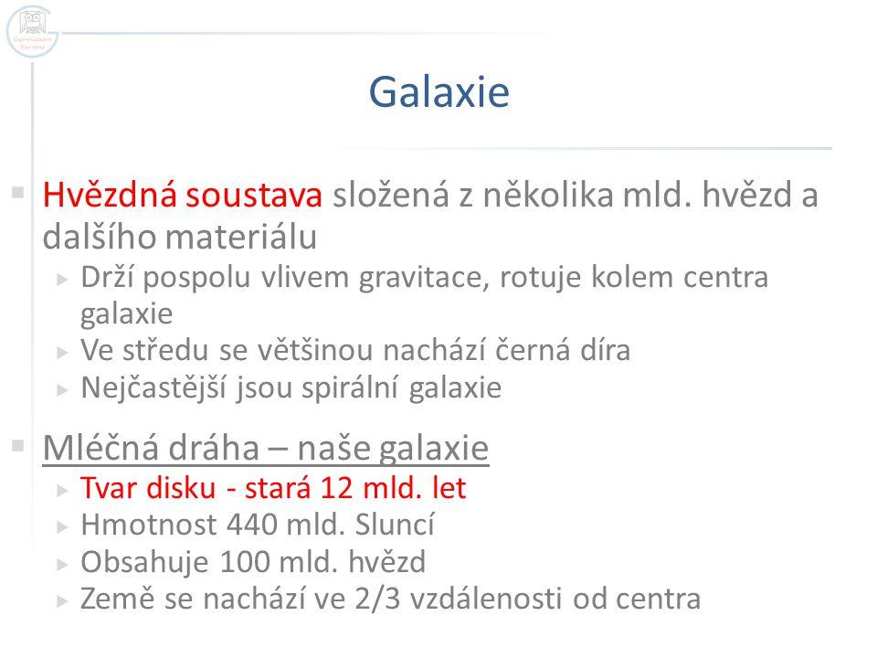 Galaxie  Hvězdná soustava složená z několika mld.