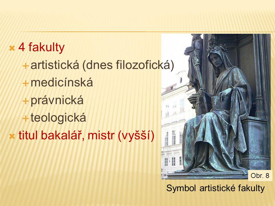  4 fakulty  artistická (dnes filozofická)  medicínská  právnická  teologická  titul bakalář, mistr (vyšší) Symbol artistické fakulty Obr.