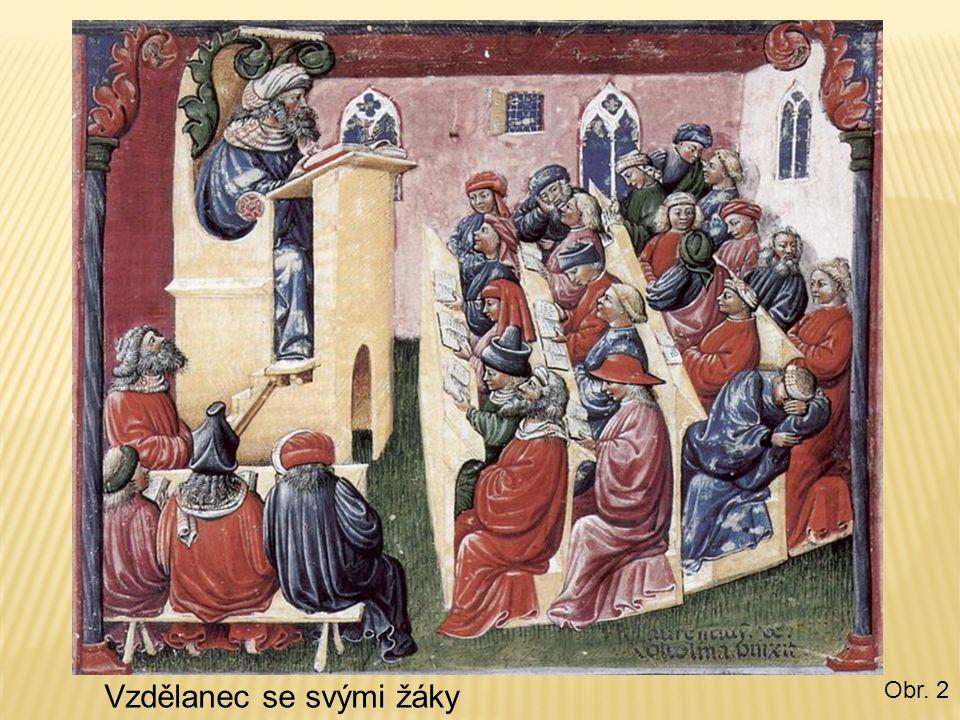 Vzdělanec se svými žáky Obr. 2