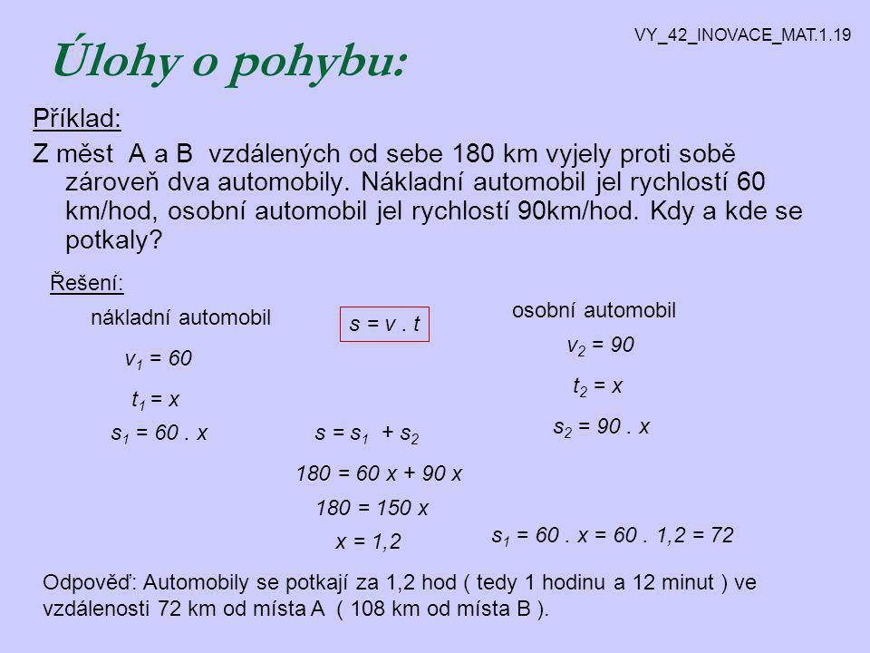 Příklad: Za traktorem, který jede rychlostí 12 km/h, bylo vysláno auto o 3,5 hodiny později.