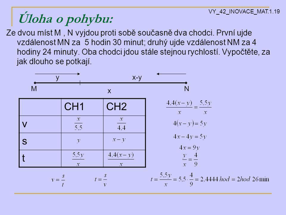 Úloha o pohybu: Ze dvou míst M, N vyjdou proti sobě současně dva chodci.